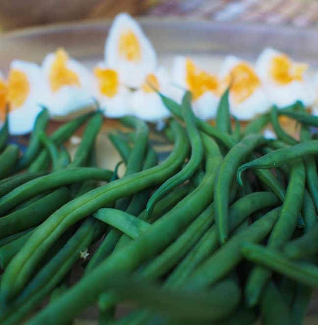 Hard boiled eggs and string beans