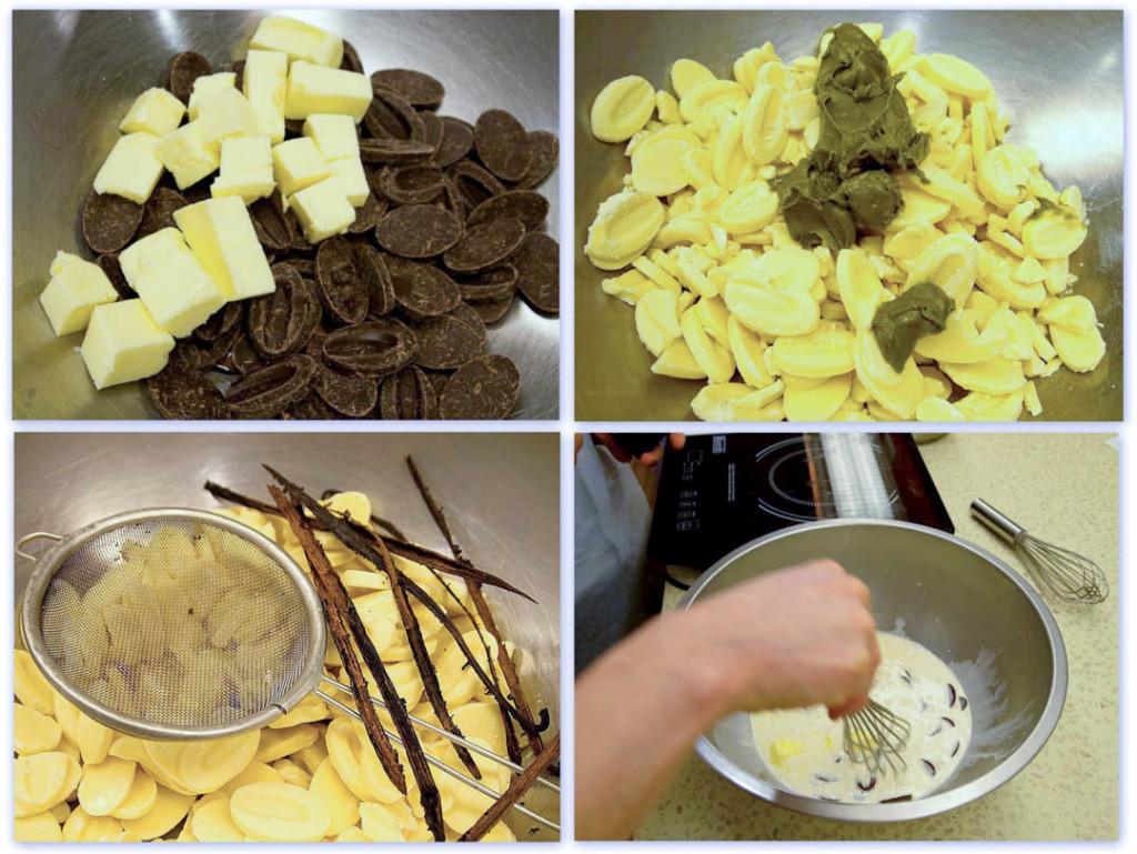 Chocolate, Pistachio and Vanilla Ganache