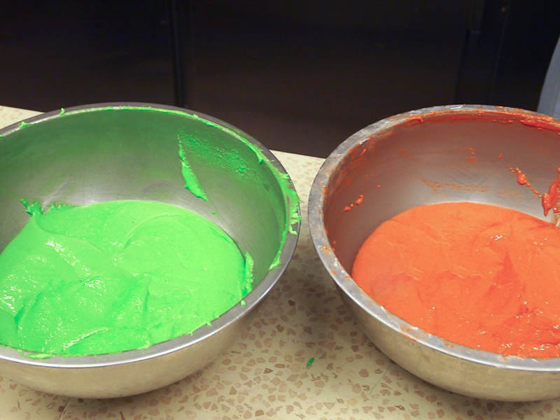 The very intense color of the batter