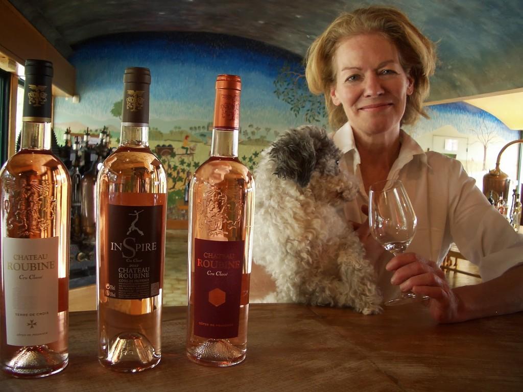 Pamela O'Neill and d'Agneau taste wine at Château Roubine