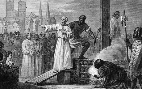 Martyr Molay...1314, Jacques de Molay (c. 1244 - 1314), the 23rd and Last GrandMaster of the Knights Templar, is lead to the stake to burn for heresy. He is shouting to Pope Clement and King Philip that they will face 'a tribunal with God' within a year. They both died soon (Photo by Hulton Archive/Getty Images)